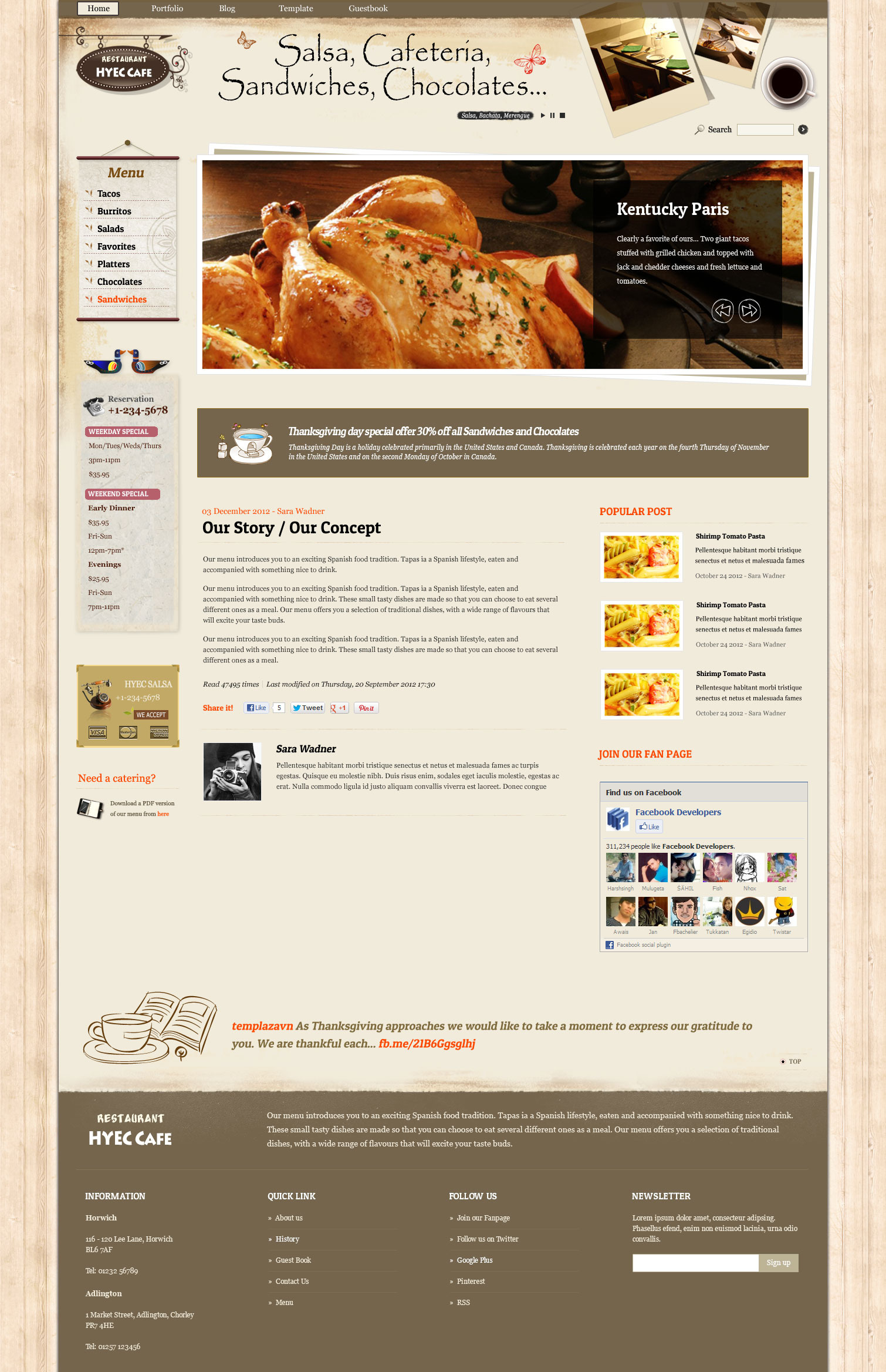 HYEC Cafe - Restaurant Joomla Template