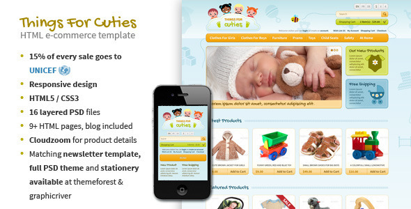 ThemeForest Things for Cuties E-Commerce Baby Shop Template 3819535