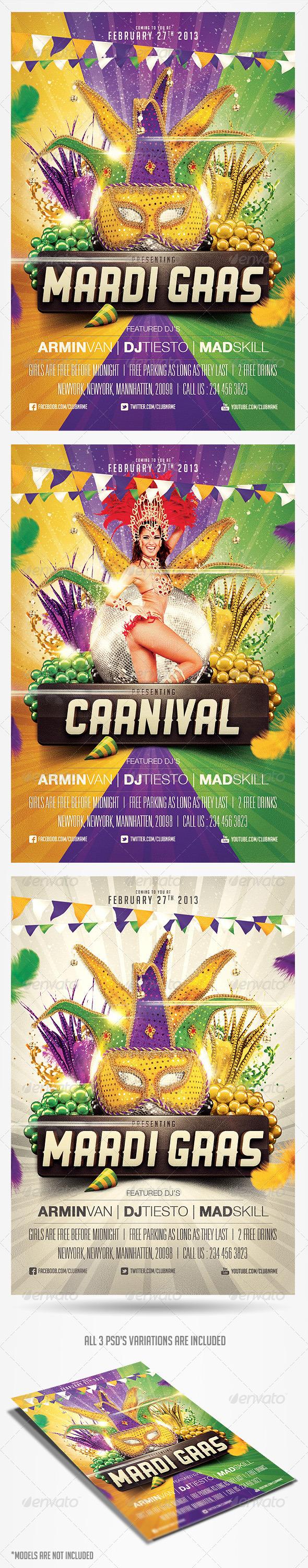 GraphicRiver Mardi Gras Carnival Flyer Template 3823997