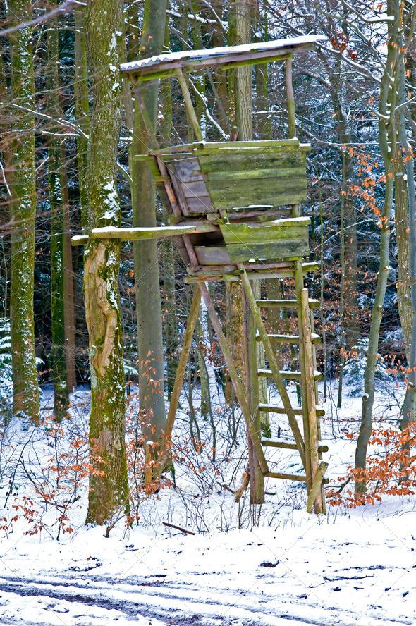 PhotoDune hunting stand in wintertime 3825299
