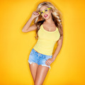 Young Woman In Yellow Tanktop And Eye Glasses - PhotoDune Item for Sale