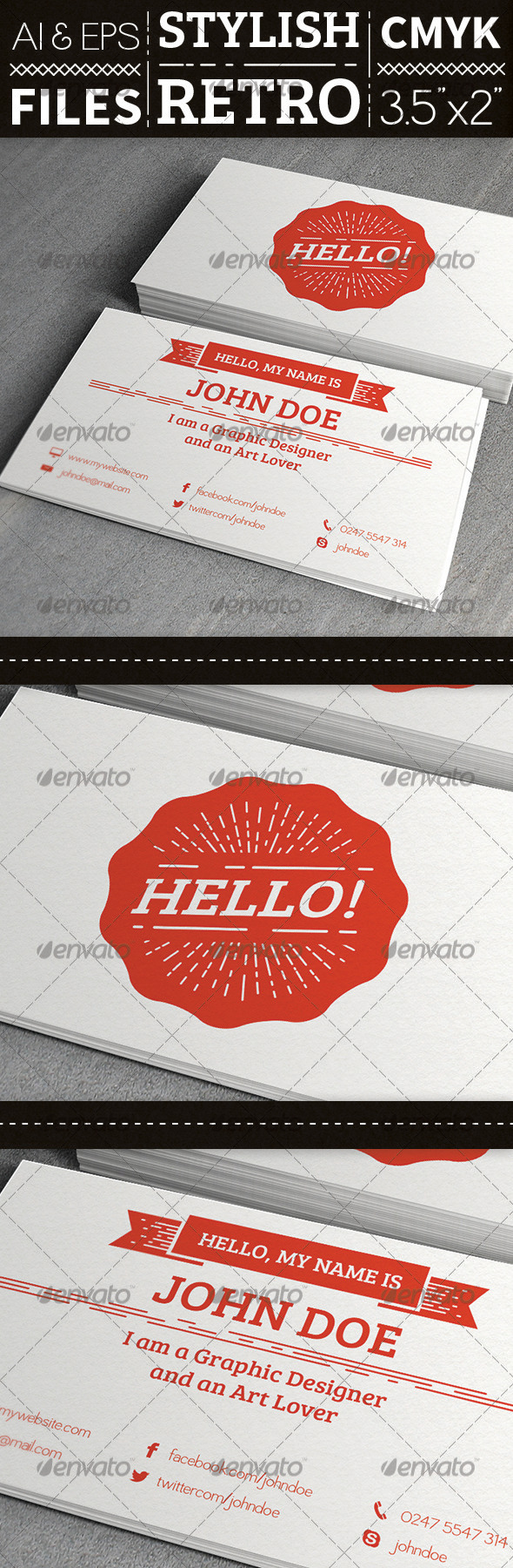 GraphicRiver Stylish Retro Business Card 3825316