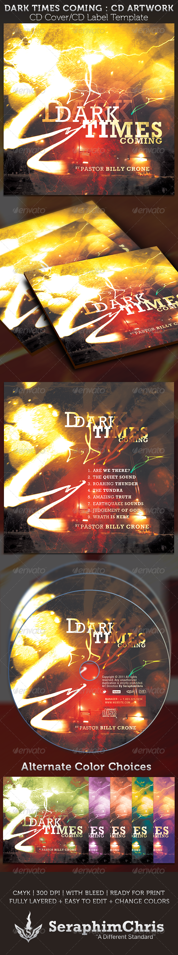 Dark Times Coming CD Cover Artwork Template - CD & DVD artwork Print Templates