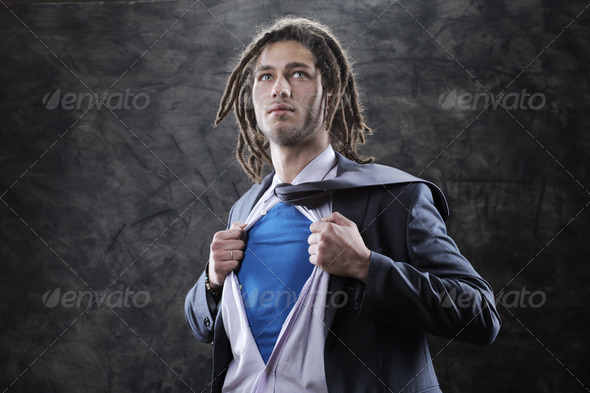 Superhero businessman - Stock Photo - Images
