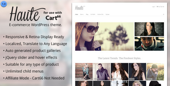 Haute - Ecommerce WordPress Theme for Cart66 - ThemeForest Item for Sale