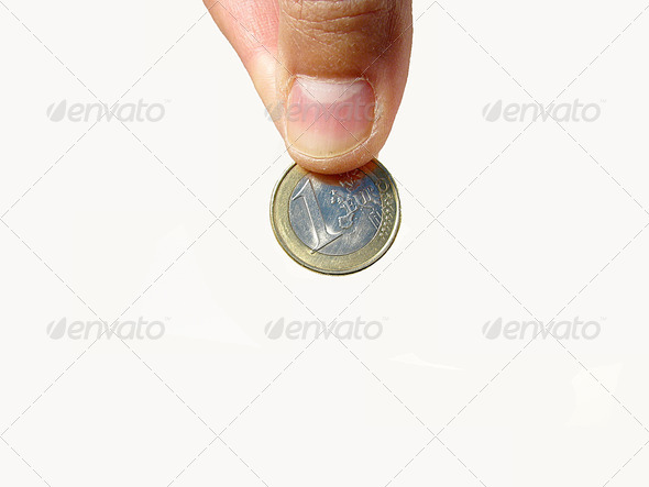 PhotoDune hand holding a one euro coin 3826751