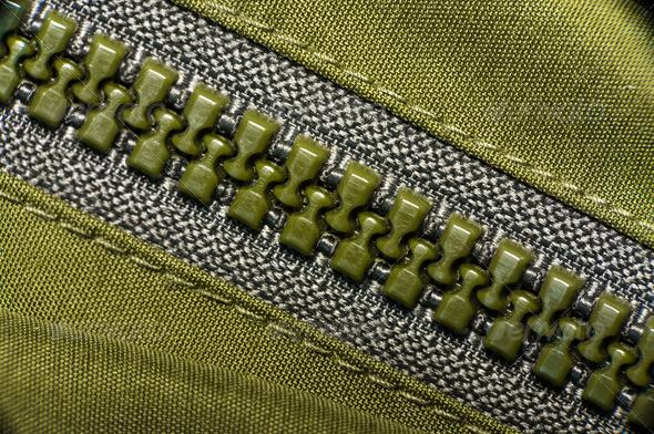 PhotoDune macro of green plastic zipper 3826805