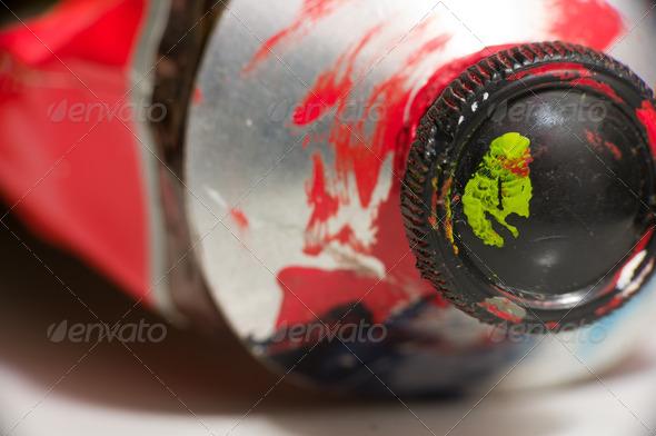 PhotoDune Macro shot of red paint tube 3826810