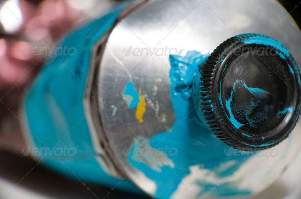 PhotoDune Macro shot of blue paint tube 3826819