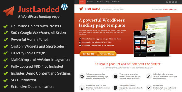 Free Wordpress Themes: JustLanded - WordPress Landing Page
