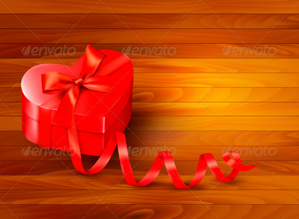 GraphicRiver Holiday Background with Gift Red Box and Ribbon 3827006