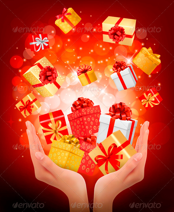 GraphicRiver Holiday Background with Hands Holding Gift Boxes 3827041