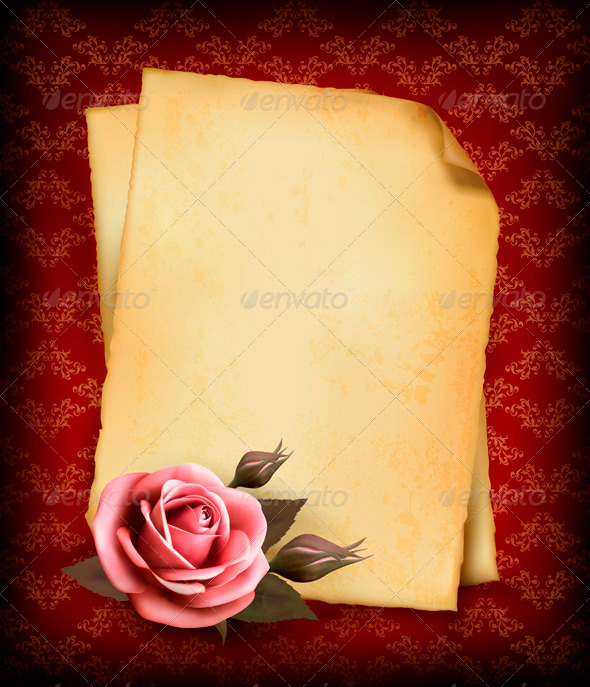 GraphicRiver Retro Background with Pink Rose and Old Paper 3827045