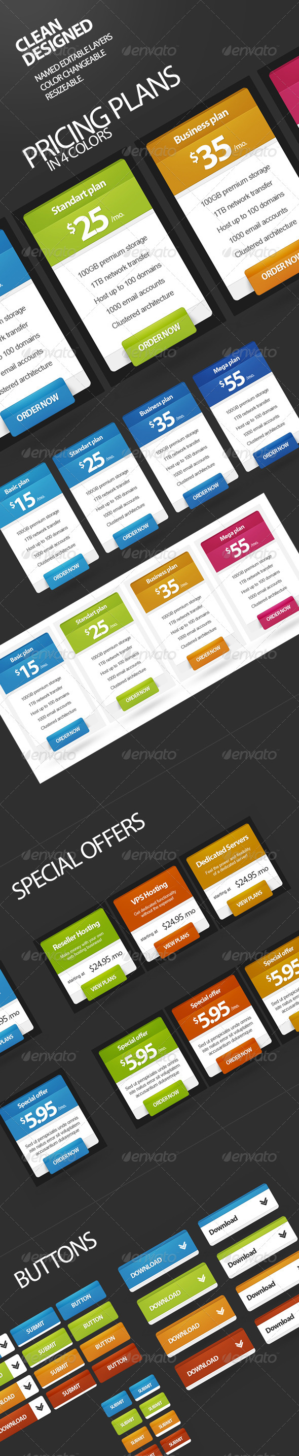 Pricing Plans, Buttons, Special Offer v2 - Tables Web Elements