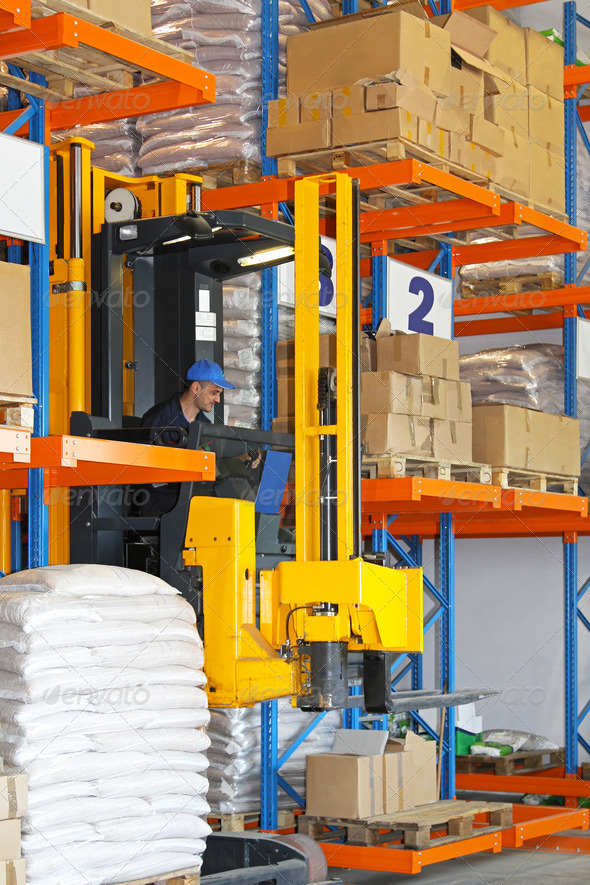 Forklift stacker - Stock Photo - Images