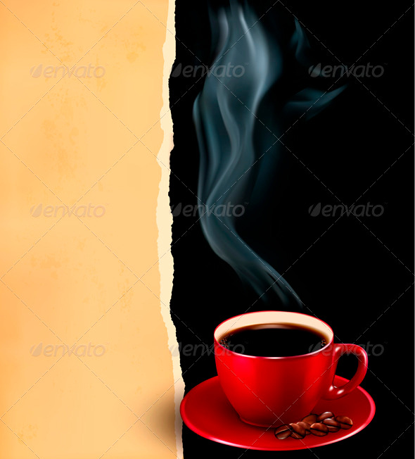 GraphicRiver Background with Cup of Coffee and Old Paper 3827982