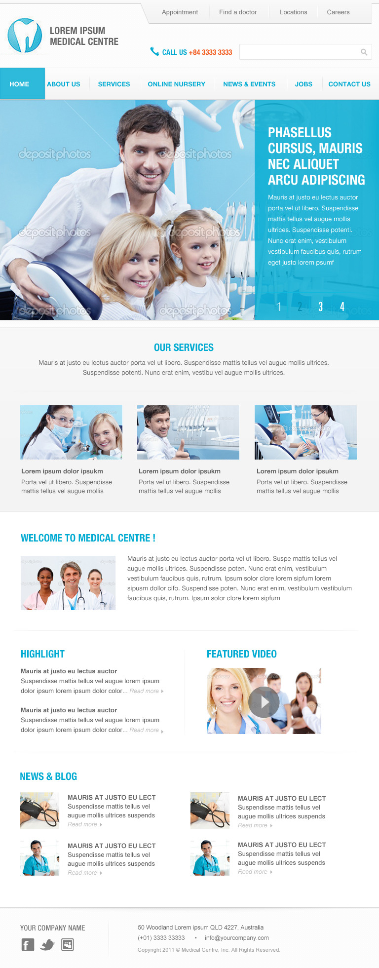 Elegant Blue - Responsive Business PSD template