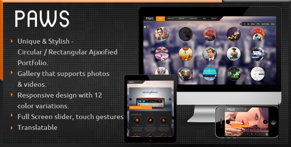 ThemeForest Paws AJAX Responsive Portfolio WP Theme 3818440