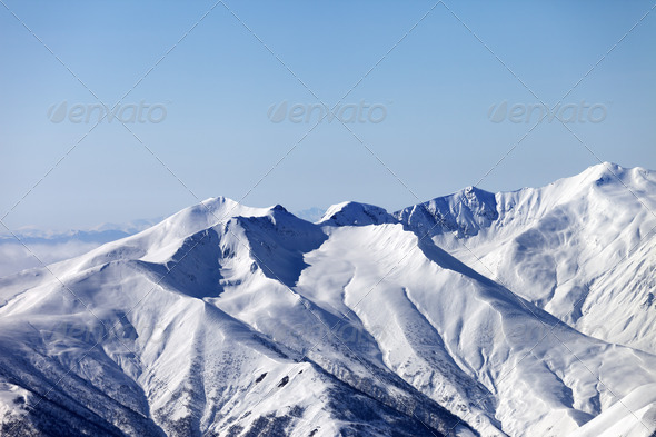 Snowy mountains. Caucasus Mountains, Georgia, ski resort Gudauri - Stock Photo - Images