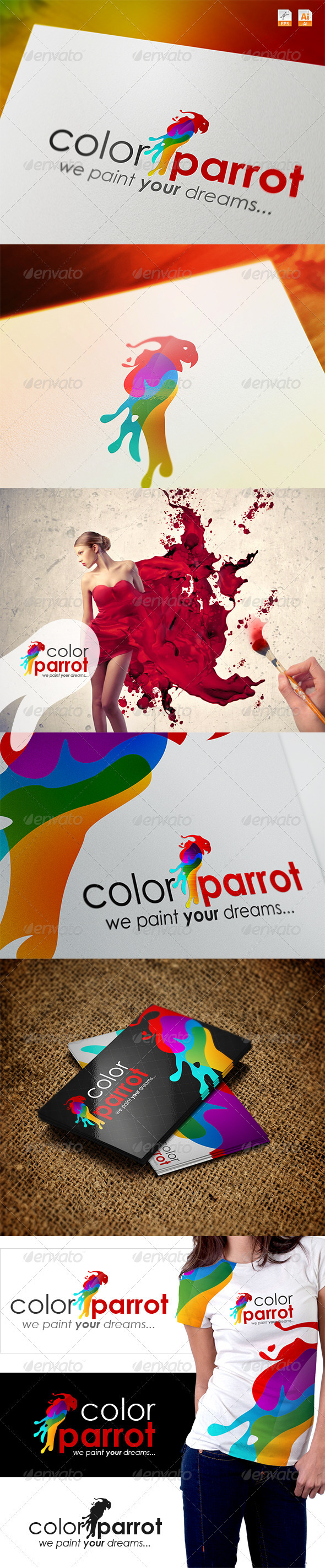 Color Parrot - We Paint Your Dreams Logo - Vector Abstract