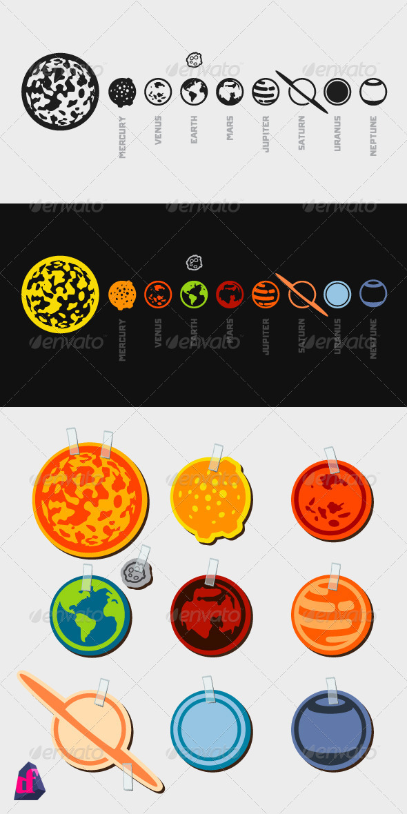 GraphicRiver Iconic Solar System 3828390