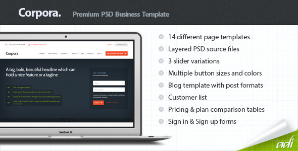 ThemeForest Corpora Premium Business PSD Template 3826644