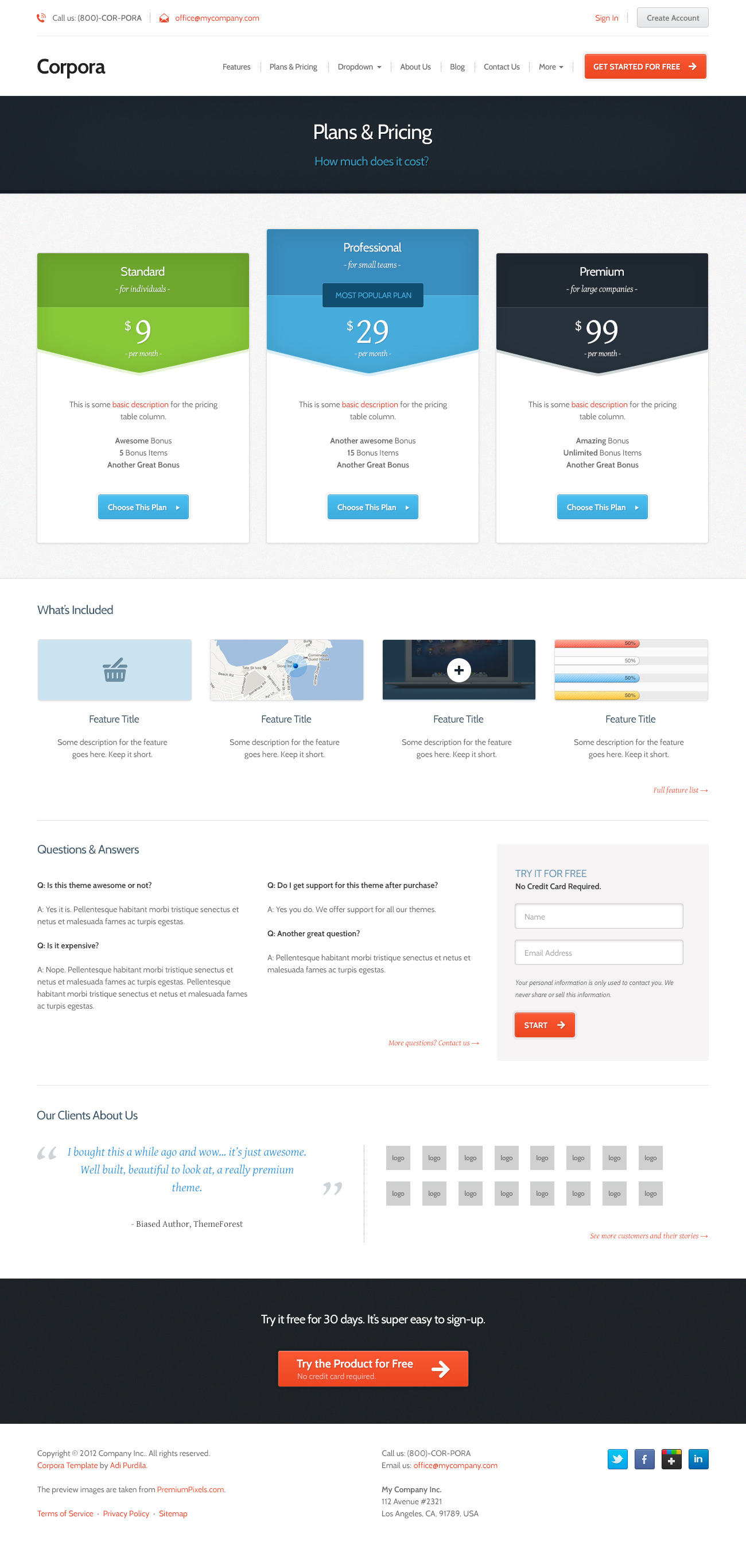Corpora - Premium Business PSD Template