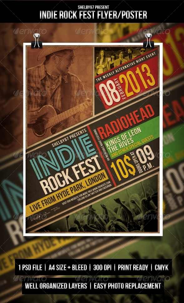 GraphicRiver Indie Rock Fest Flyer Poster 3829337