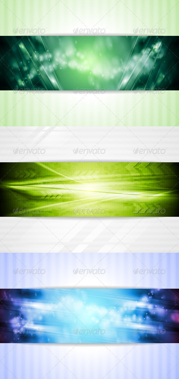 GraphicRiver Bright Green and Blue Tech Backgrounds 3829608