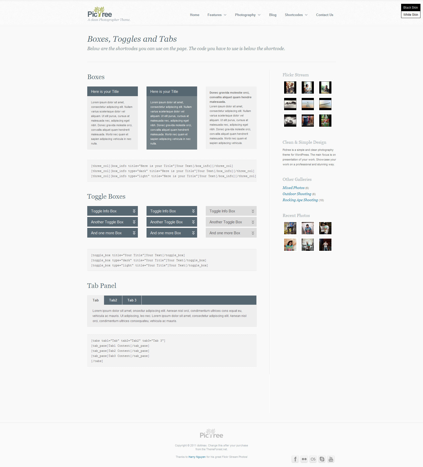 PicTree - A clean Photographer Wordpress Theme