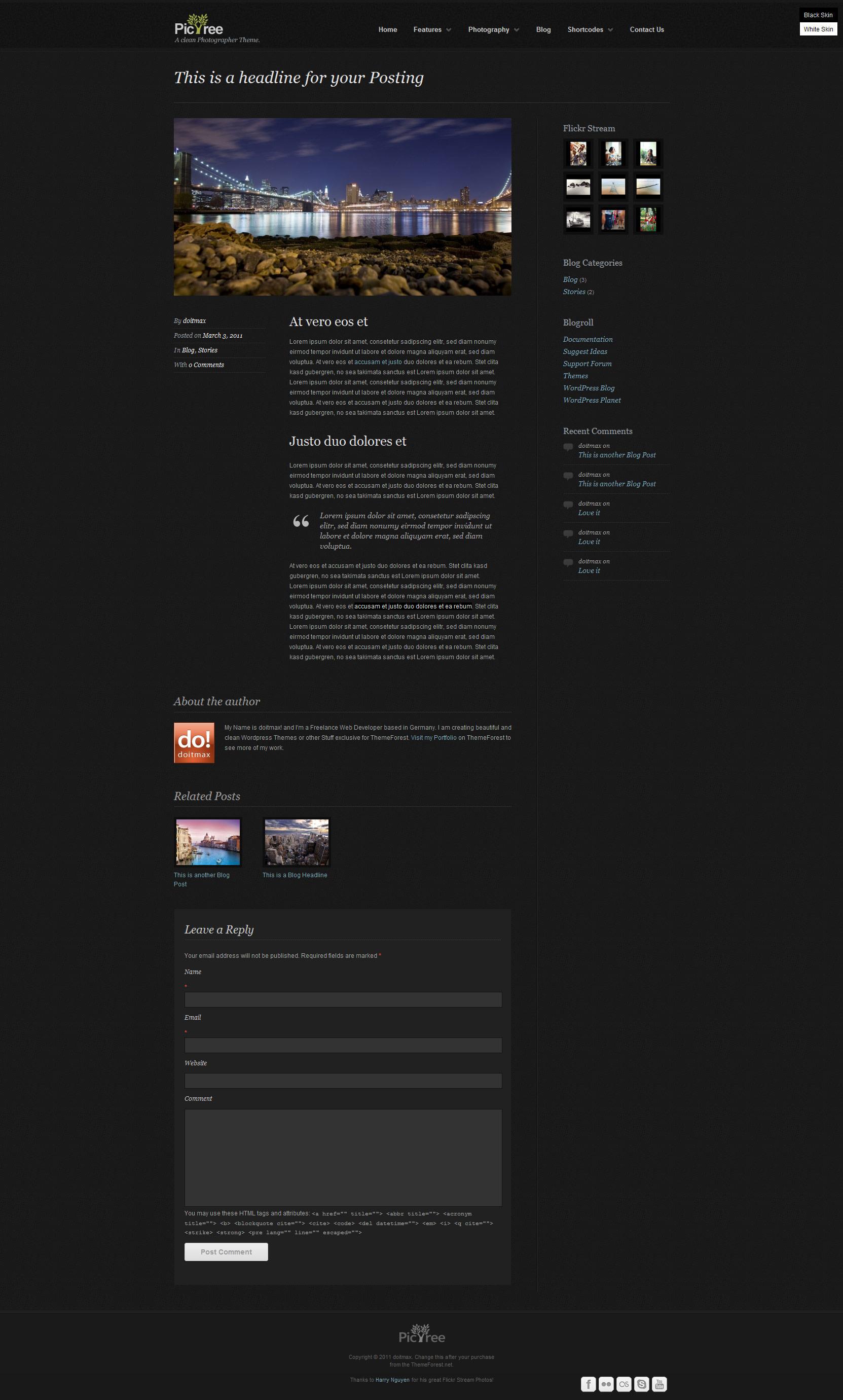 PicTree - A clean Photographer Wordpress Theme
