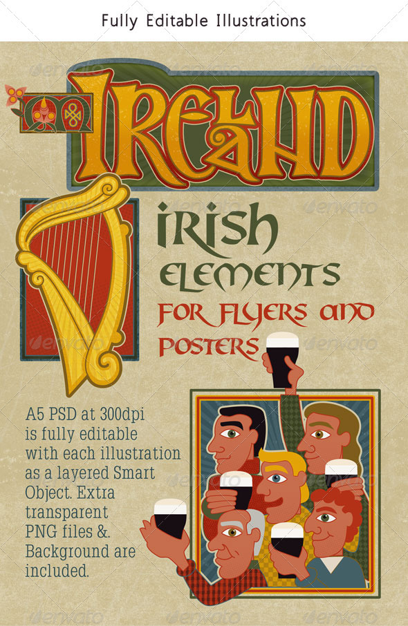 Ireland Set of Modern Traditional Irish Graphics