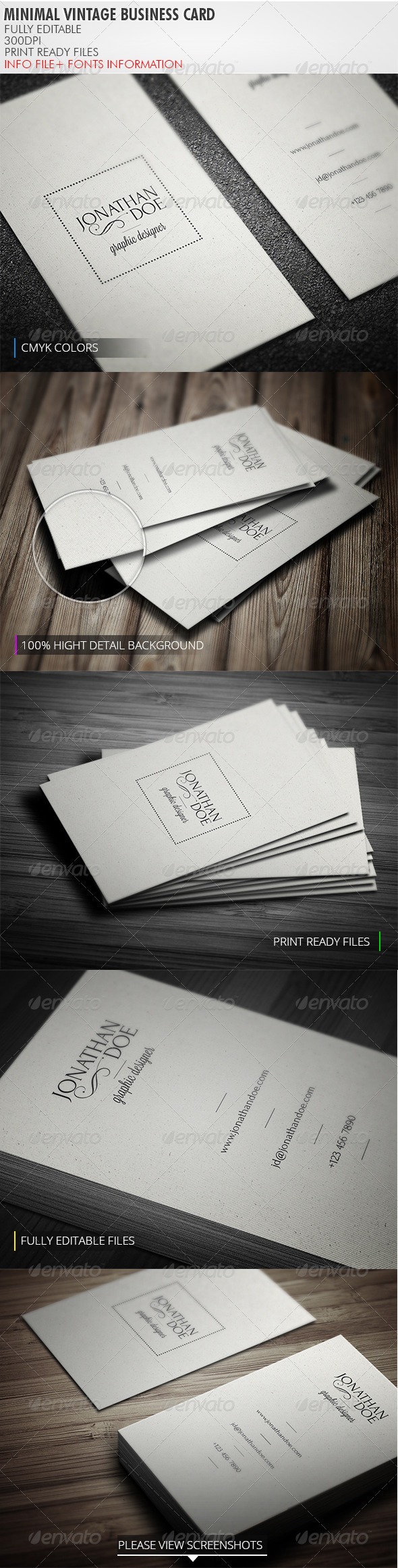 Minimal Vintage Business Card - Retro/Vintage Business Cards