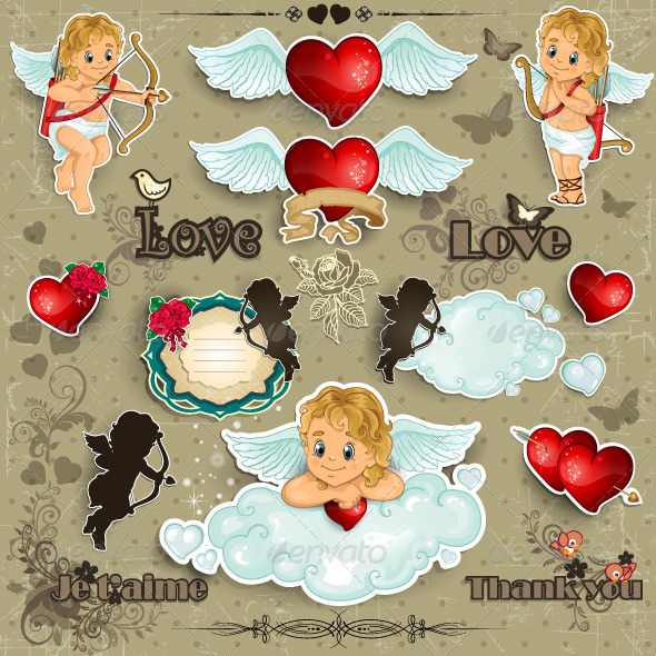 GraphicRiver Hearts and Cupid Love Set 3831462