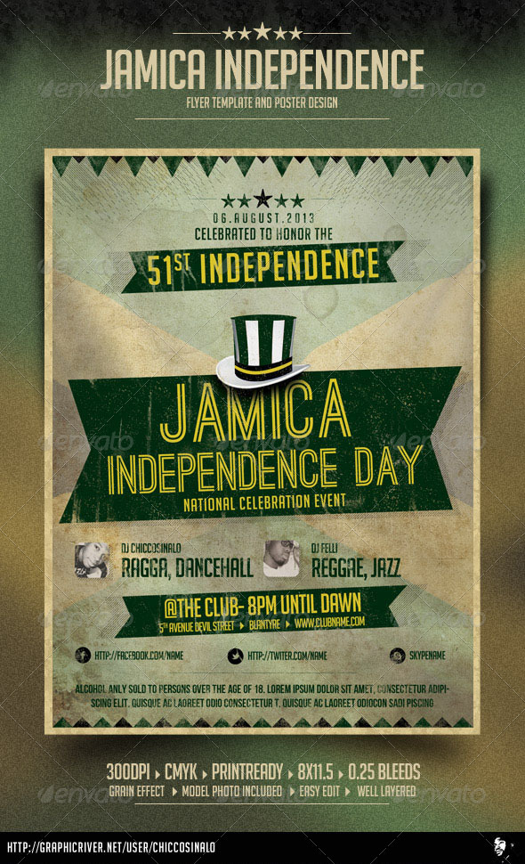 GraphicRiver Jamaica Independence Day Flyer 3832023