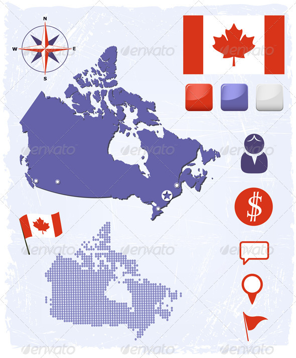 GraphicRiver Canada Map Icons And Buttons Set 3832641