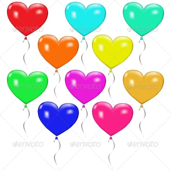 GraphicRiver Set of Colorful Balloons in the Form of Hearts 3832655