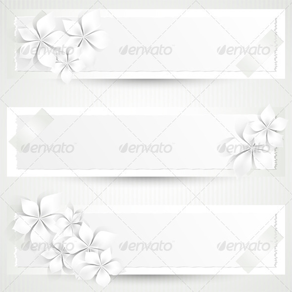 GraphicRiver White Flowers Banners 3832972