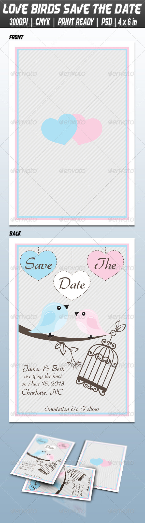 GraphicRiver Love Birds Save The Date 3833072