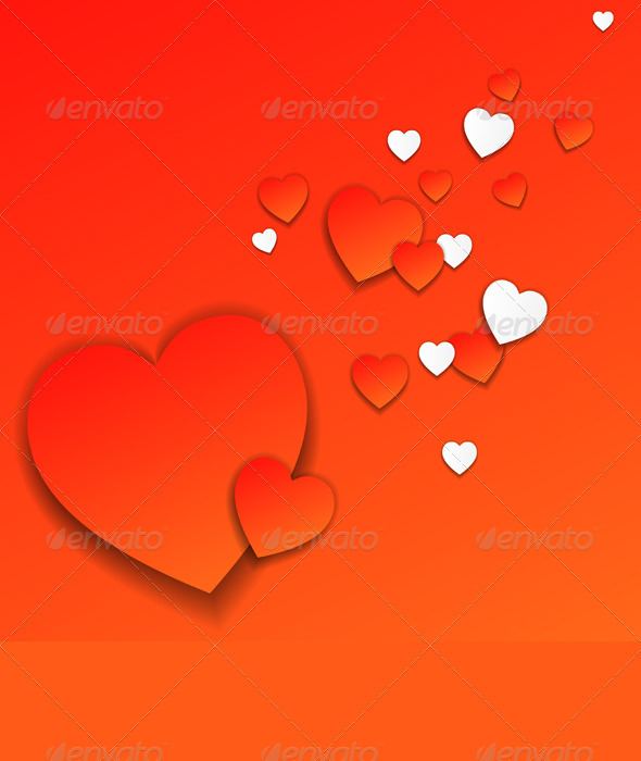 GraphicRiver Vector Red Valentine s Day Card with Hearts 3834400