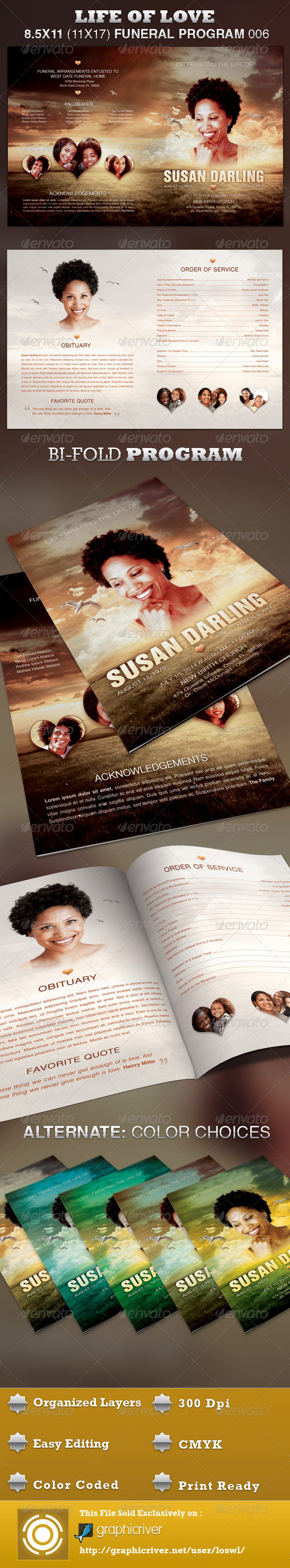 Life of Love Funeral Program Template 006 - Informational Brochures