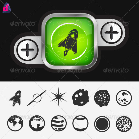 GraphicRiver Science Button with Space Icons 3836135