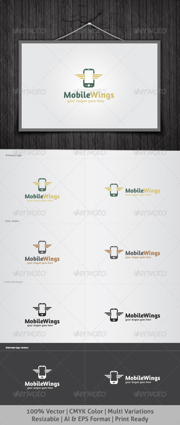 Mobile Wings Logo - Objects Logo Templates