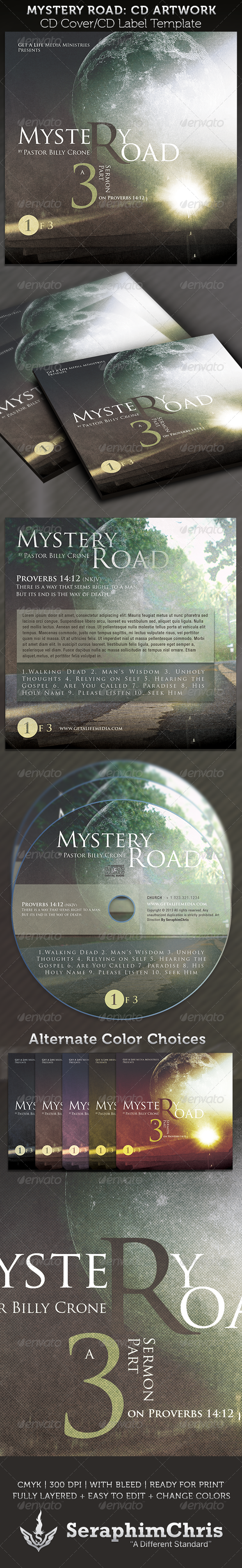 GraphicRiver Mystery Road CD Cover Artwork Template 3836437