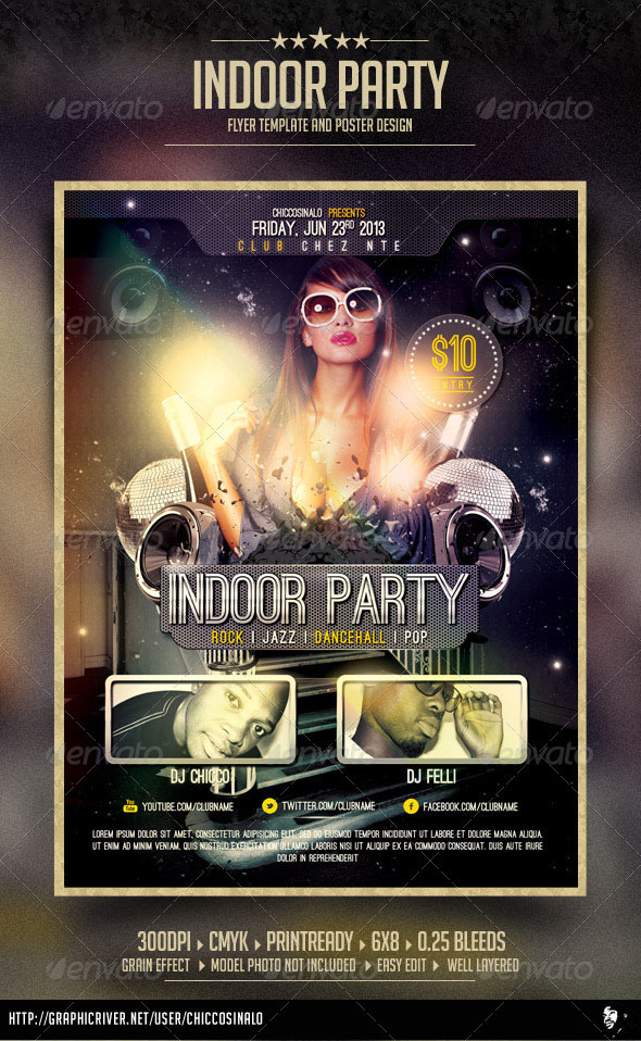 Indoor Party Flyer Template - Clubs & Parties Events