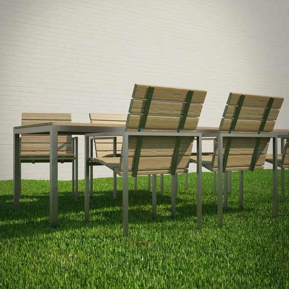 Garden Table and Chairs 3D Model - 3DOcean Item for Sale