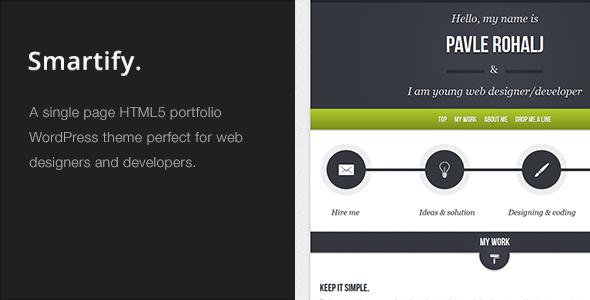 Smartify - Single Page WordPress HTML5 Portfolio