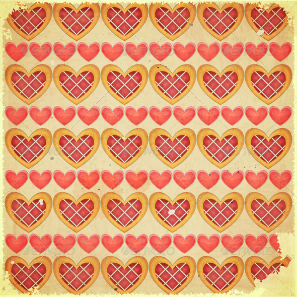 Retro Valentines Day Background with Hearts