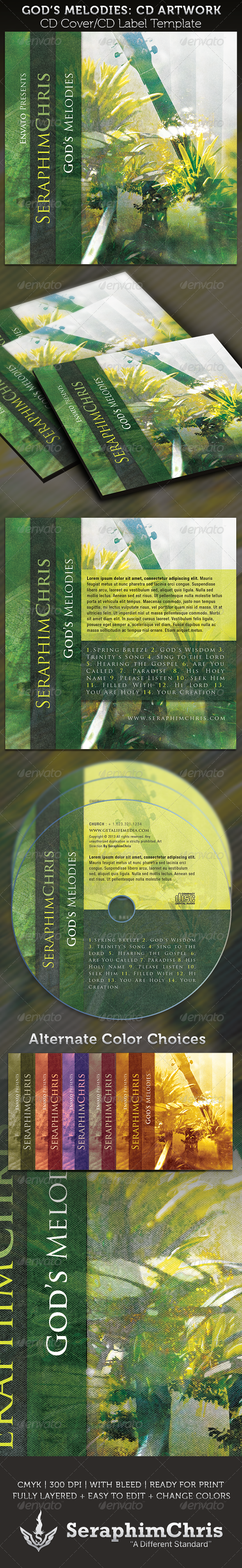 God's Melodies CD Cover Artwork Template - CD & DVD artwork Print Templates