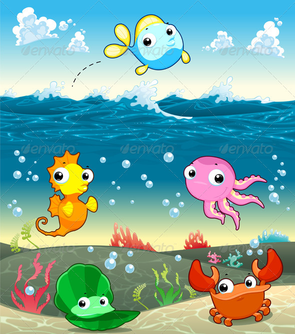 GraphicRiver Funny Marine Family in the Sea 3837588
